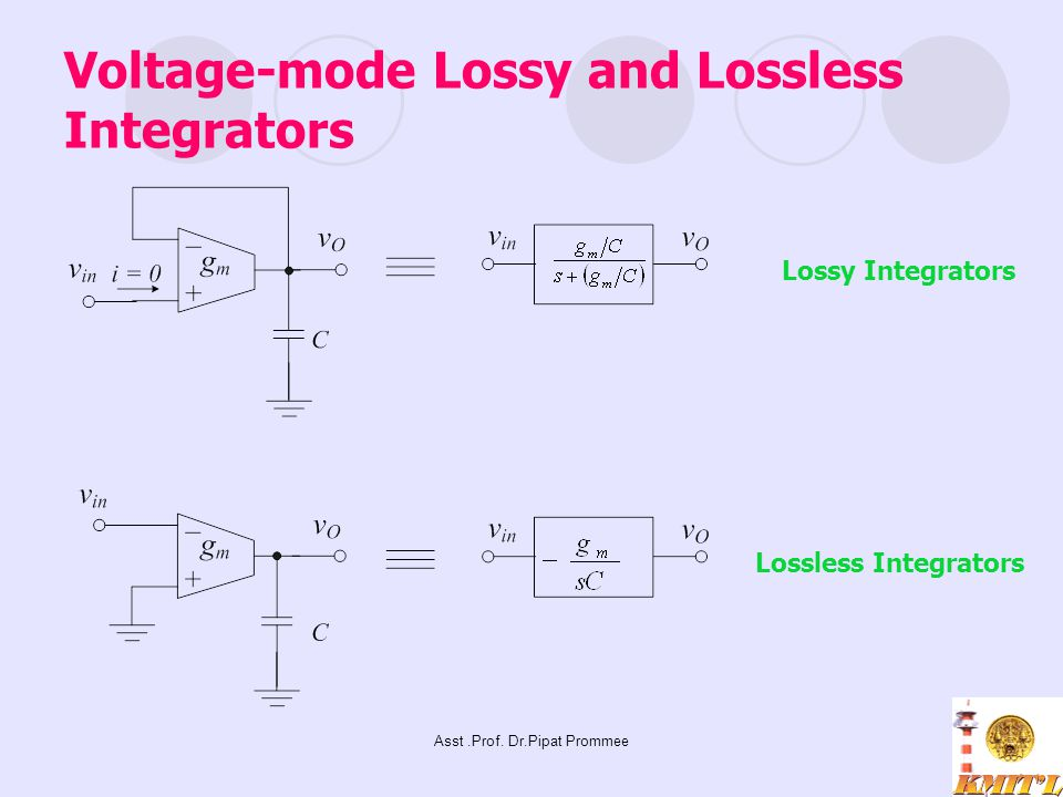 Asst.Prof. Dr.Pipat Prommee Voltage-mode Lossy and Lossless Integrators Lossy Integrators Lossless Integrators