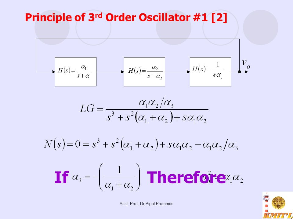 Asst.Prof. Dr.Pipat Prommee Principle of 3 rd Order Oscillator #1 [2] IfTherefore