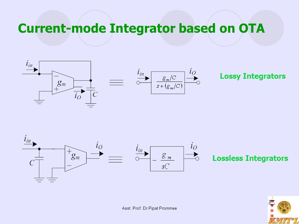 Asst.Prof. Dr.Pipat Prommee Current-mode Integrator based on OTA Lossy Integrators Lossless Integrators