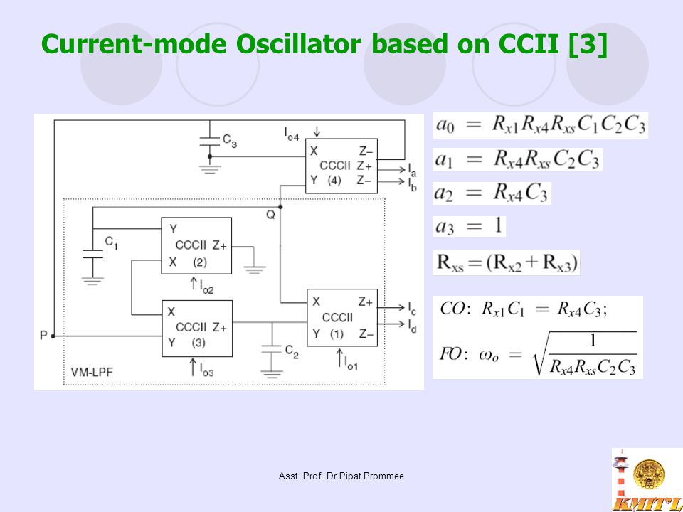 Asst.Prof. Dr.Pipat Prommee Current-mode Oscillator based on CCII [3]