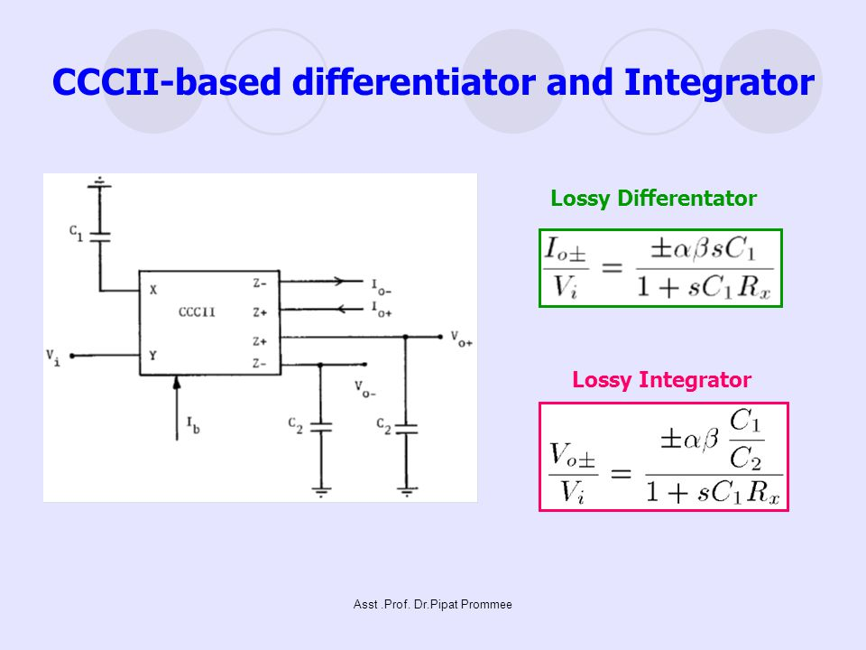 Asst.Prof. Dr.Pipat Prommee CCCII-based differentiator and Integrator Lossy Differentator Lossy Integrator