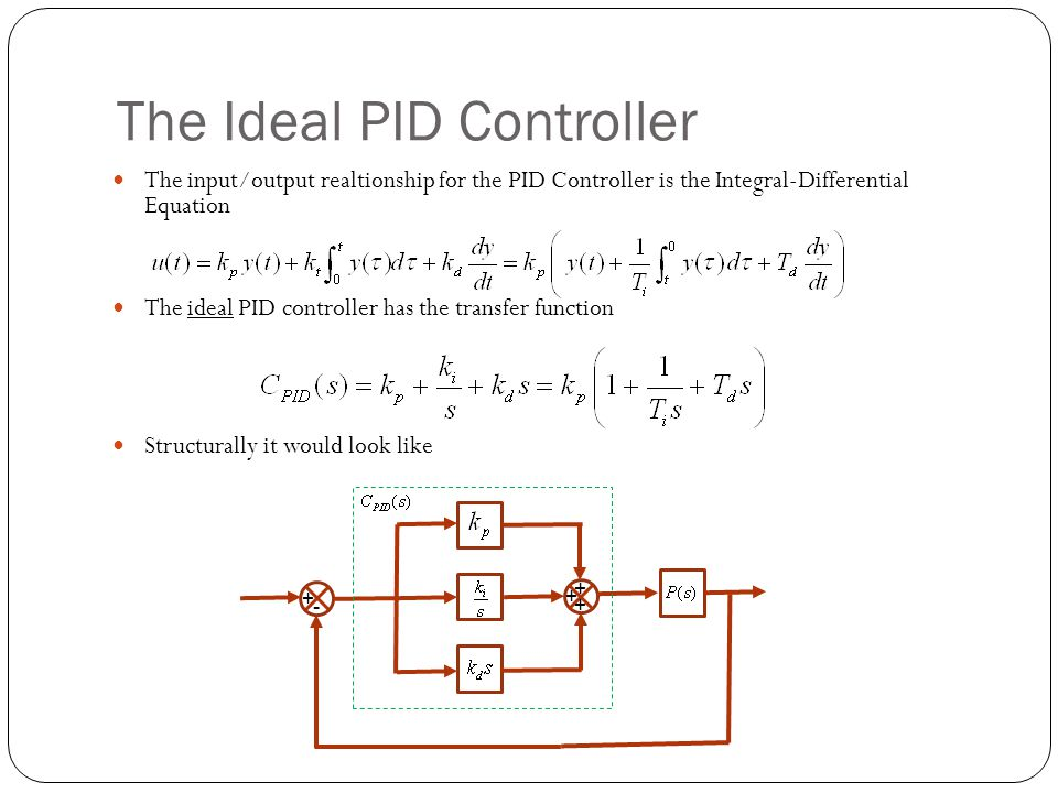 The Ideal PID Controller The input/output realtionship for the PID Controller is the Integral-Differential Equation The ideal PID controller has the t