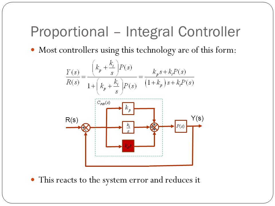 Proportional – Integral Controller Most controllers using this technology are of this form: This reacts to the system error and reduces it R(s) Y(s) +