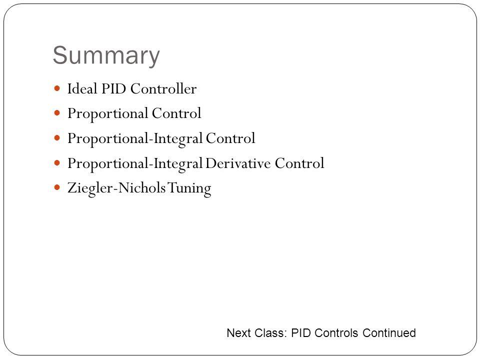 Summary Ideal PID Controller Proportional Control Proportional-Integral Control Proportional-Integral Derivative Control Ziegler-Nichols Tuning Next C