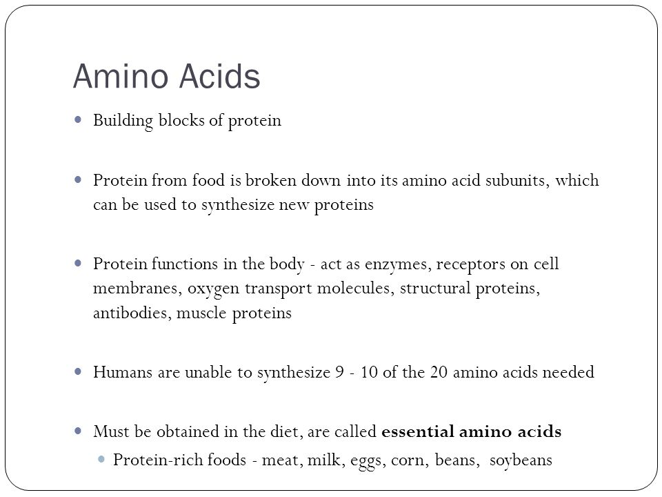 Amino Acids Building blocks of protein Protein from food is broken down into its amino acid subunits, which can be used to synthesize new proteins Pro