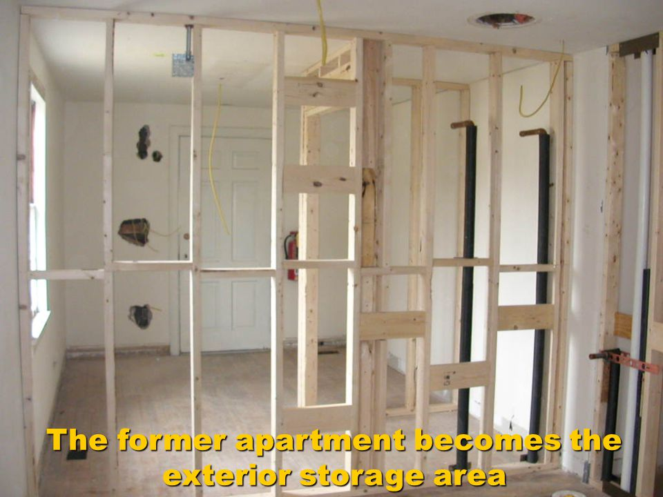 The former apartment becomes the exterior storage area