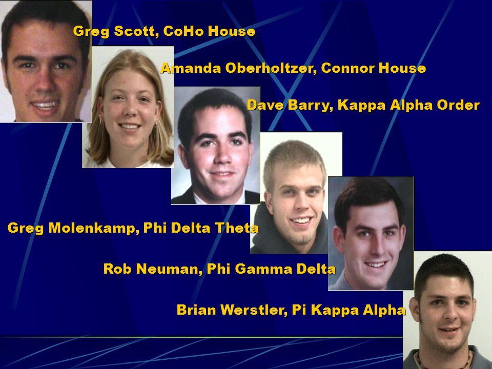 Greg Scott, CoHo House Amanda Oberholtzer, Connor House Dave Barry, Kappa Alpha Order Greg Molenkamp, Phi Delta Theta Rob Neuman, Phi Gamma Delta Bria