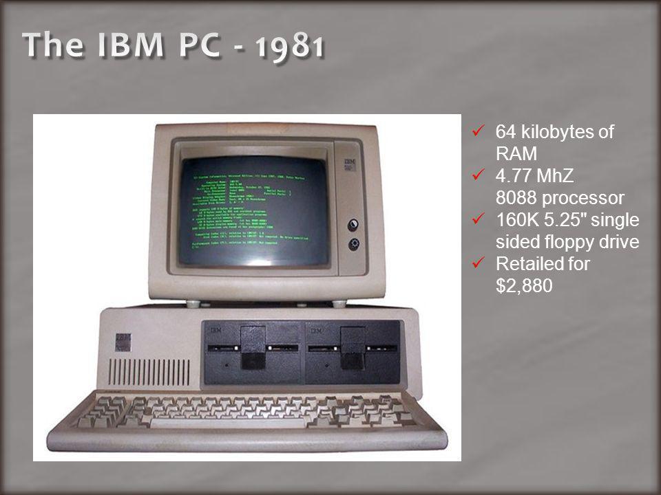 64 kilobytes of RAM 4.77 MhZ 8088 processor 160K 5.25 single sided floppy drive Retailed for $2,880