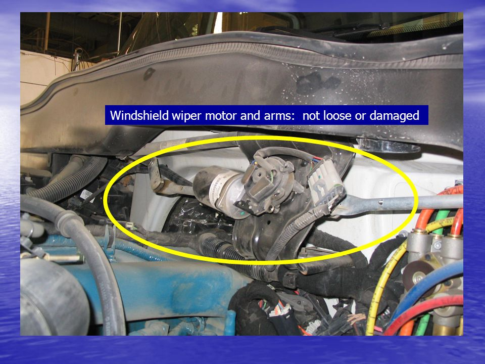 Windshield wiper motor and arms: not loose or damaged