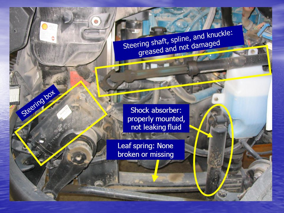 Steering box Leaf spring: None broken or missing Steering shaft, spline, and knuckle: greased and not damaged Shock absorber: properly mounted, not le