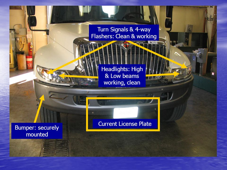 Bumper: securely mounted Current License Plate Headlights: High & Low beams working, clean Turn Signals & 4-way Flashers: Clean & working