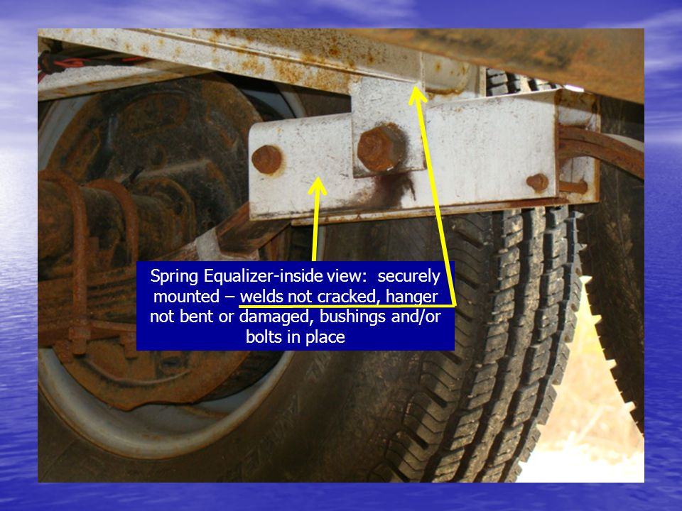 Spring Equalizer-inside view: securely mounted – welds not cracked, hanger not bent or damaged, bushings and/or bolts in place