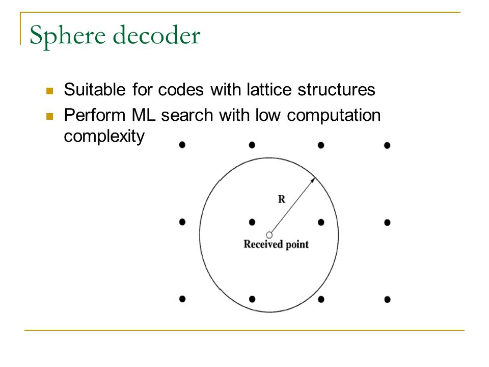Sphere decoder Suitable for codes with lattice structures Perform ML search with low computation complexity