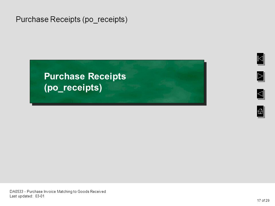17 of 29 DA0533 - Purchase Invoice Matching to Goods Received Last updated: 03-01 Purchase Receipts (po_receipts)