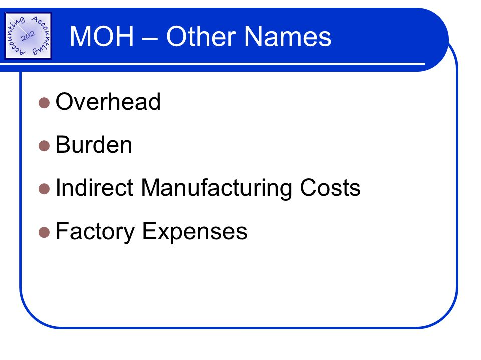 MOH – Other Names Overhead Burden Indirect Manufacturing Costs Factory Expenses