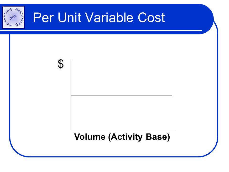 $ Volume (Activity Base) Per Unit Variable Cost