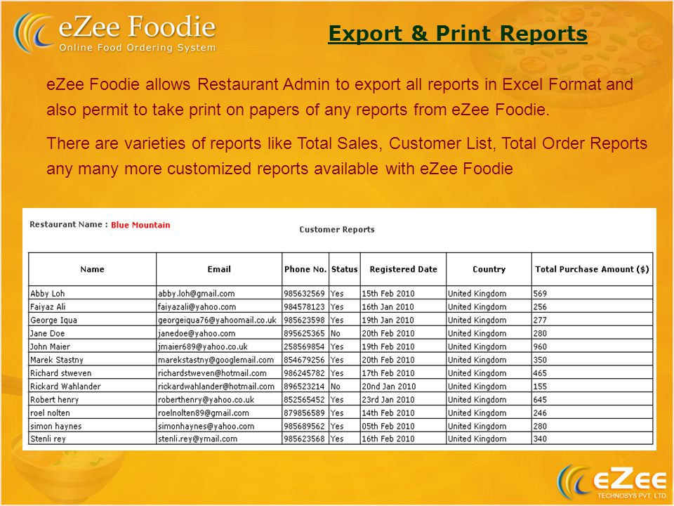 Export & Print Reports eZee Foodie allows Restaurant Admin to export all reports in Excel Format and also permit to take print on papers of any reports from eZee Foodie.