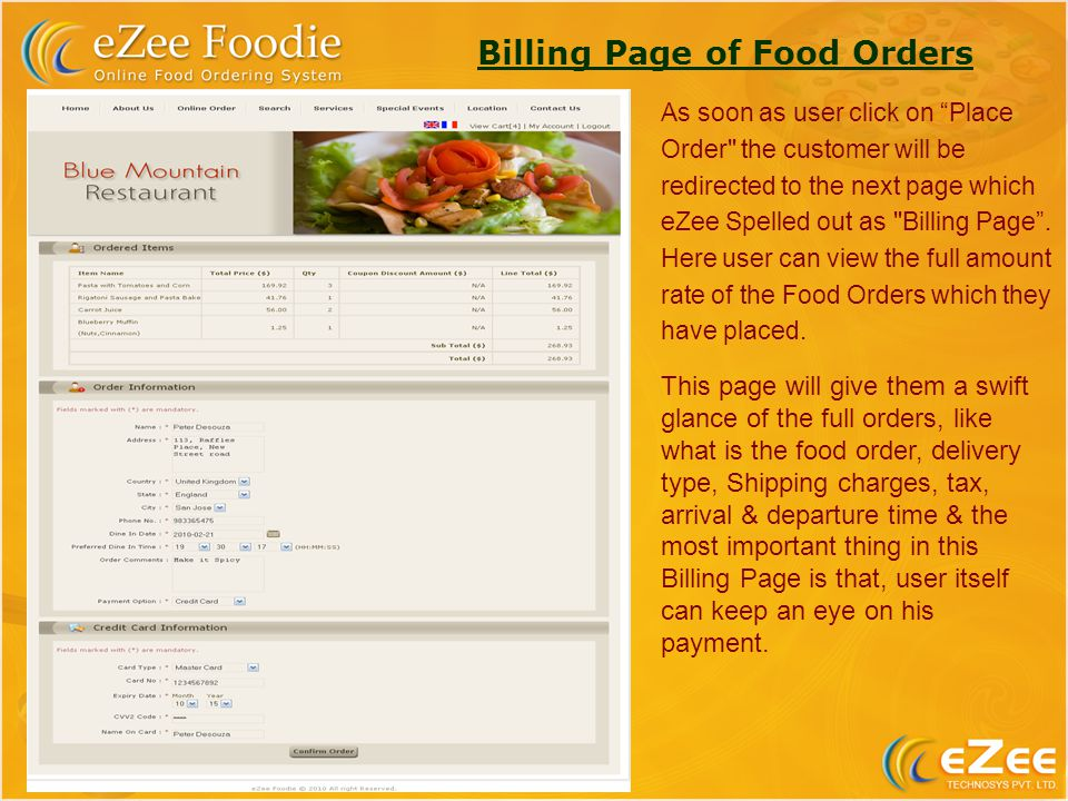 Billing Page of Food Orders As soon as user click on Place Order the customer will be redirected to the next page which eZee Spelled out as Billing Page.