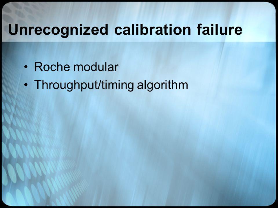 Unrecognized calibration failure Roche modular Throughput/timing algorithm