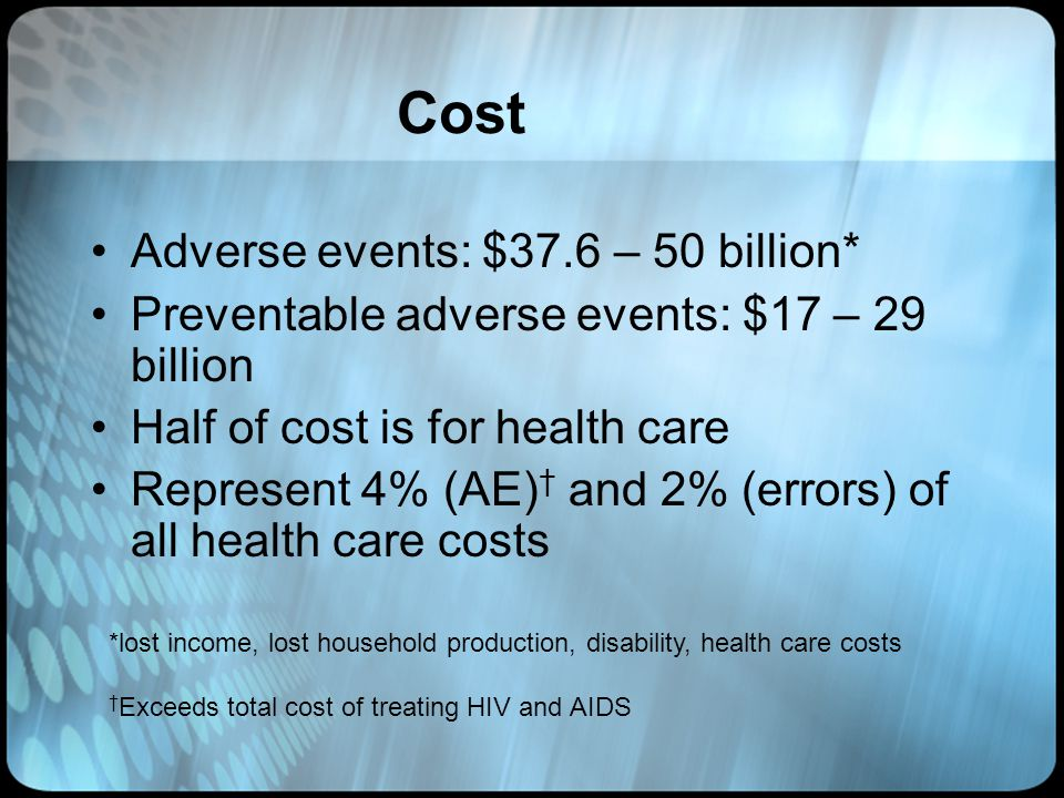 Cost Adverse events: $37.6 – 50 billion* Preventable adverse events: $17 – 29 billion Half of cost is for health care Represent 4% (AE) and 2% (errors