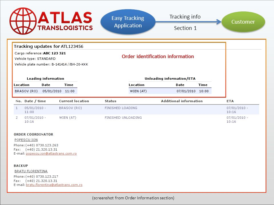 Customer Easy Tracking Application Tracking info Section 2 (screenshot from Order Information section)
