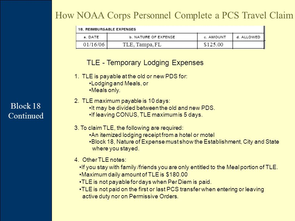 Block 18 Continued How NOAA Corps Personnel Complete a PCS Travel Claim TLE - Temporary Lodging Expenses 1.