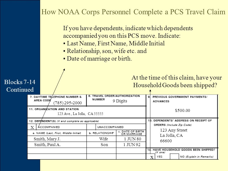 Blocks 7-14 Continued How NOAA Corps Personnel Complete a PCS Travel Claim (785) 295-2000 9 Digits $500.00 If you have dependents, indicate which dependents accompanied you on this PCS move.