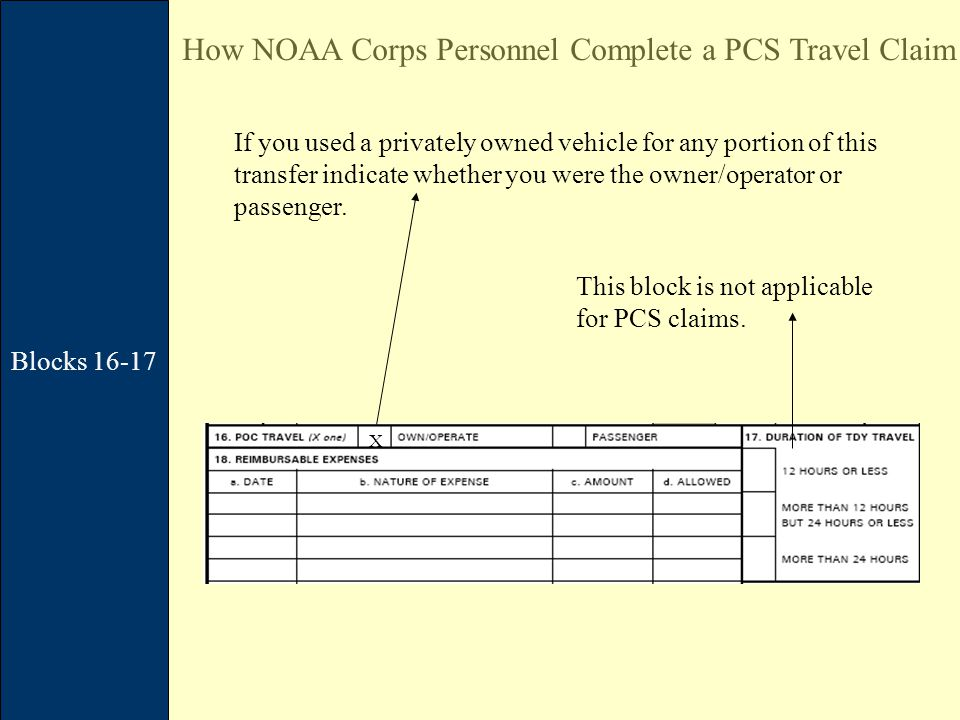Blocks 16-17 How NOAA Corps Personnel Complete a PCS Travel Claim X If you used a privately owned vehicle for any portion of this transfer indicate whether you were the owner/operator or passenger.