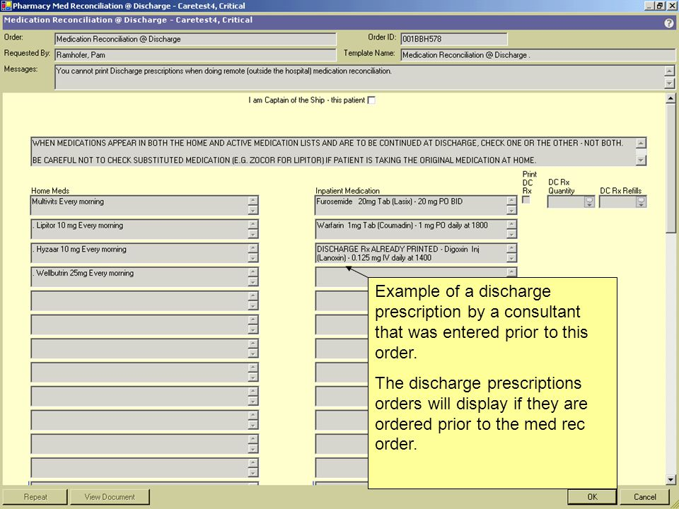 Example of a discharge prescription by a consultant that was entered prior to this order.