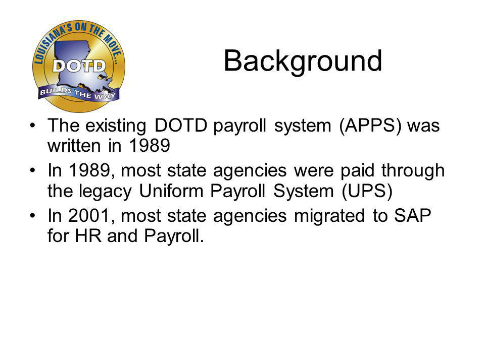 Background The existing DOTD payroll system (APPS) was written in 1989 In 1989, most state agencies were paid through the legacy Uniform Payroll System (UPS) In 2001, most state agencies migrated to SAP for HR and Payroll.