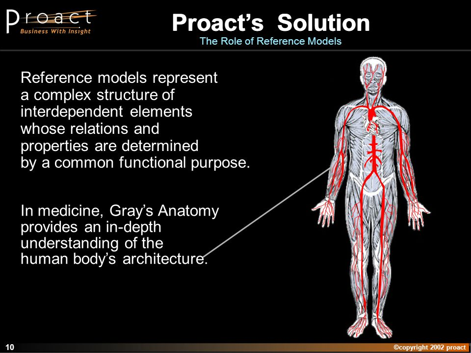 ©copyright 2002 proact 10 Proacts Solution The Role of Reference Models Reference models represent a complex structure of interdependent elements whose relations and properties are determined by a common functional purpose.