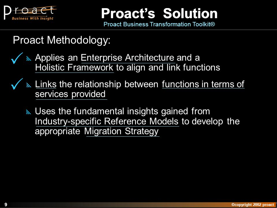 ©copyright 2002 proact 9 Proacts Solution Proact Business Transformation Toolkit Proacts Solution Proact Business Transformation Toolkit® Proact Metho
