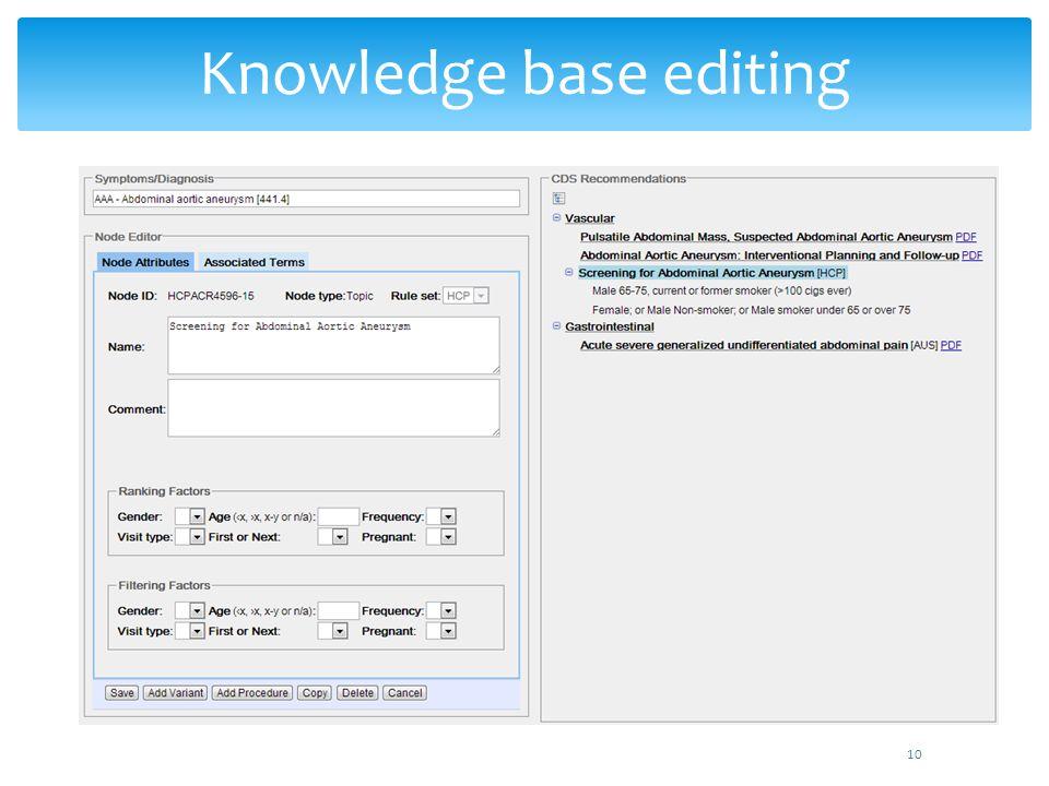 10 Knowledge base editing