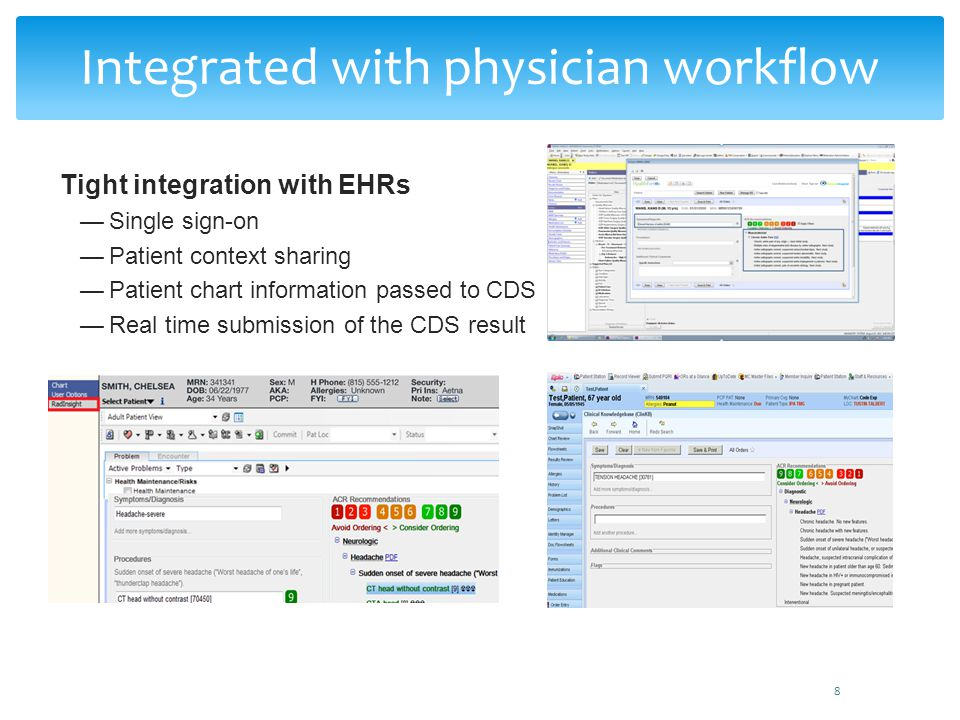 Tight integration with EHRs Single sign-on Patient context sharing Patient chart information passed to CDS Real time submission of the CDS result 8 In
