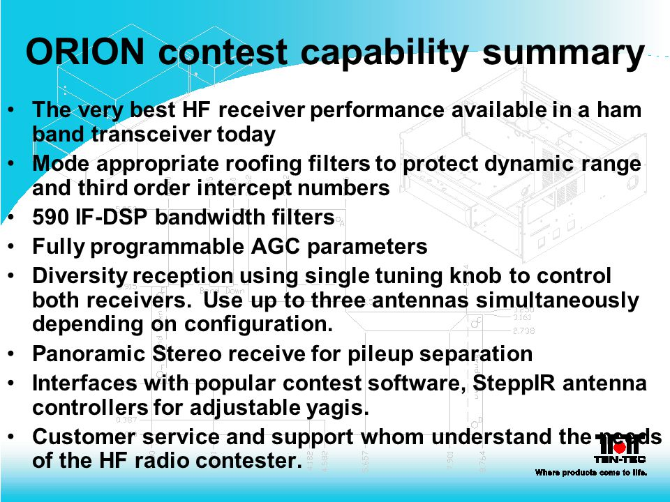 ORION contest capability summary The very best HF receiver performance available in a ham band transceiver today Mode appropriate roofing filters to p