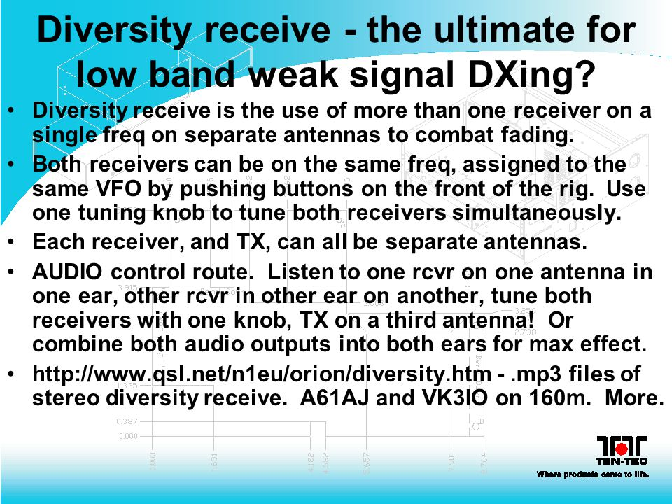 Diversity receive - the ultimate for low band weak signal DXing? Diversity receive is the use of more than one receiver on a single freq on separate a