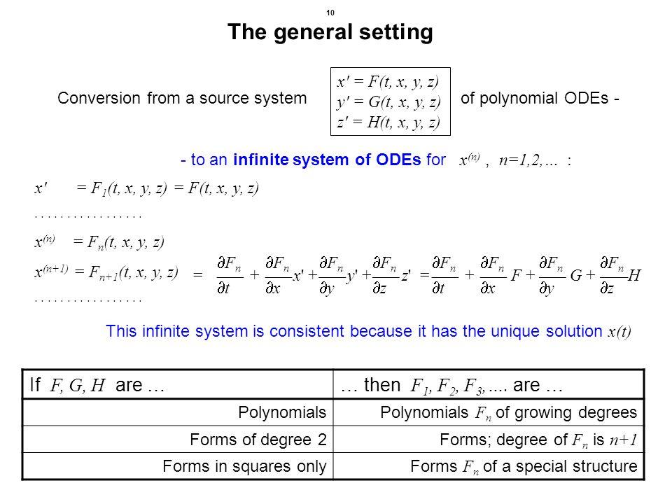 10 The general setting = F n + x' + F n y' + F n z' = F n + F + F n G + F n H t x y z t x y z x' = F 1 (t, x, y, z) = F(t, x, y, z)................. x