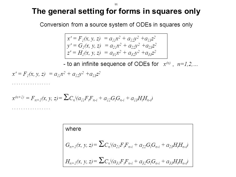 11 The general setting for forms in squares only x = F 1 (x, y, z) = a 11 x 2 + a 12 y 2 +a 13 z 2.................