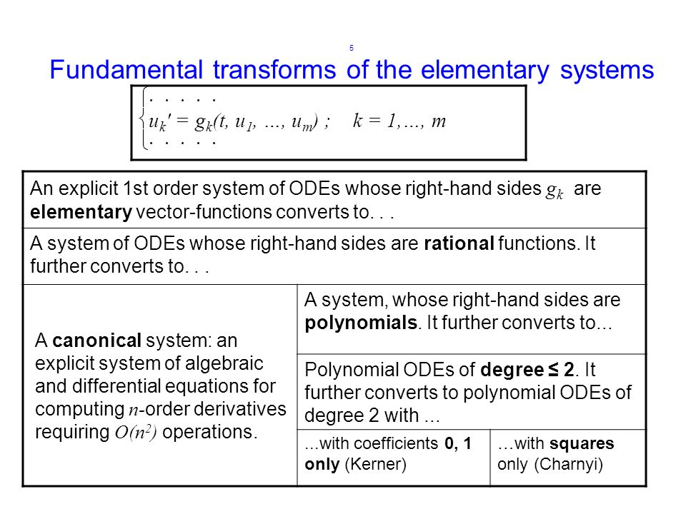 5 Fundamental transforms of the elementary systems An explicit 1st order system of ODEs whose right-hand sides g k are elementary vector-functions converts to...