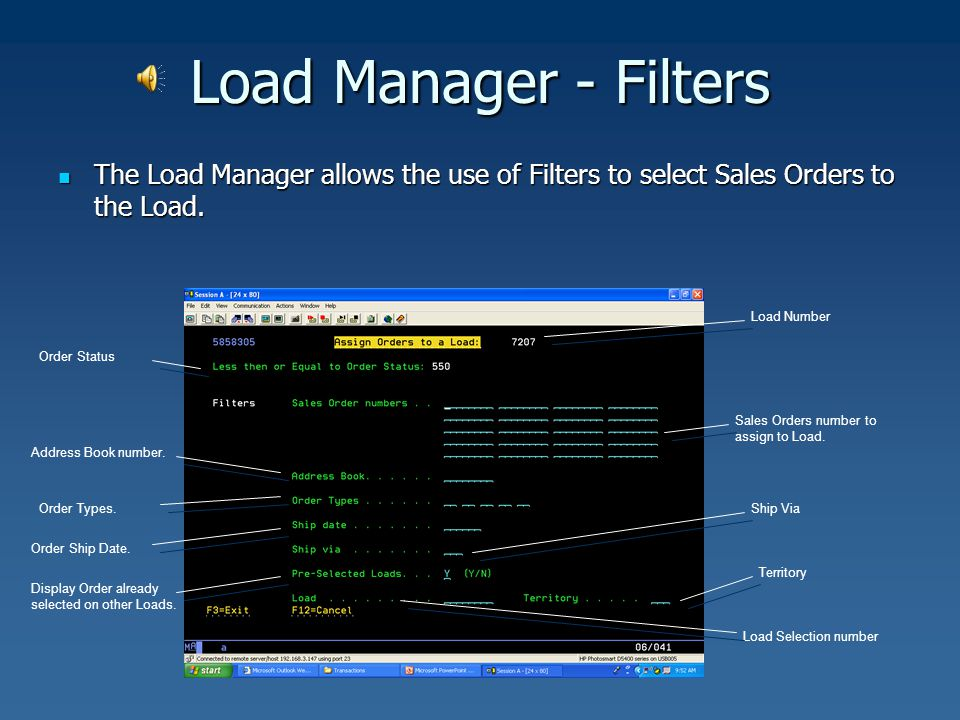 Load Manager - Filters The Load Manager allows the use of Filters to select Sales Orders to the Load. The Load Manager allows the use of Filters to se