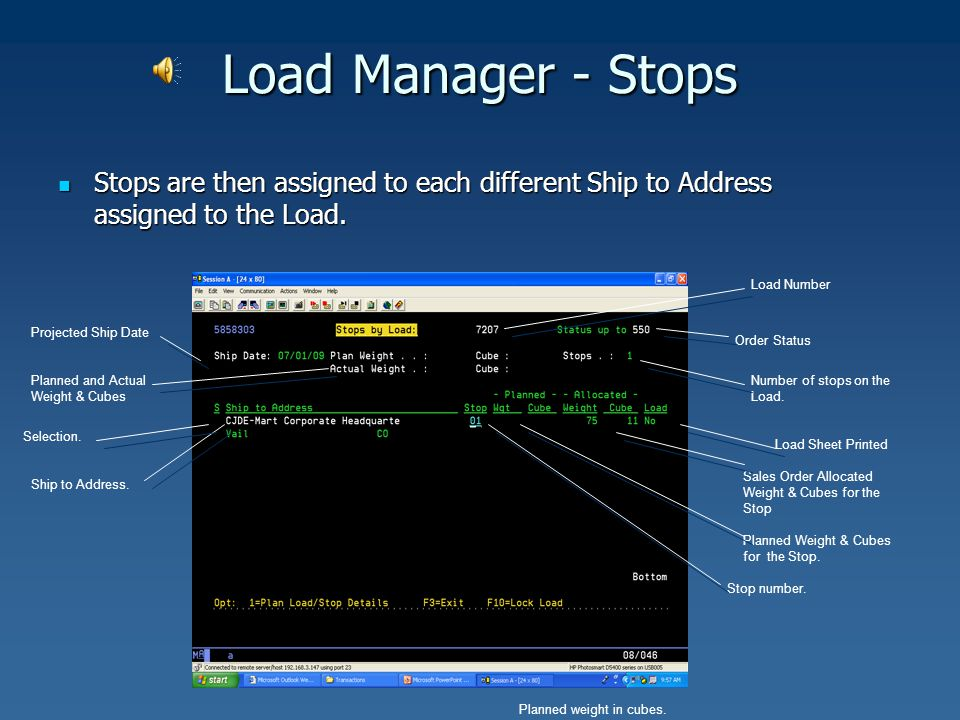 Load Manager - Stops Stops are then assigned to each different Ship to Address assigned to the Load. Stops are then assigned to each different Ship to