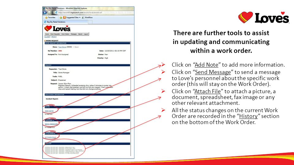 There are further tools to assist in updating and communicating within a work order. Click on Add Note to add more information. Click on Send Message