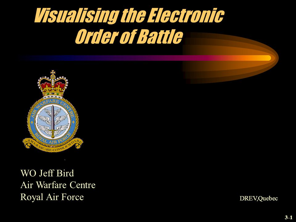 Visualising the Electronic Order of Battle WO Jeff Bird Air Warfare Centre Royal Air Force DREV,Quebec 3-1