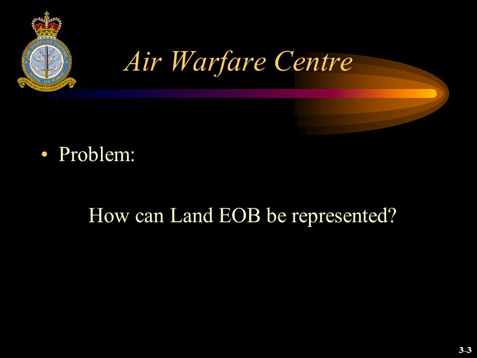 Air Warfare Centre Problem: How can Land EOB be represented? 3-3