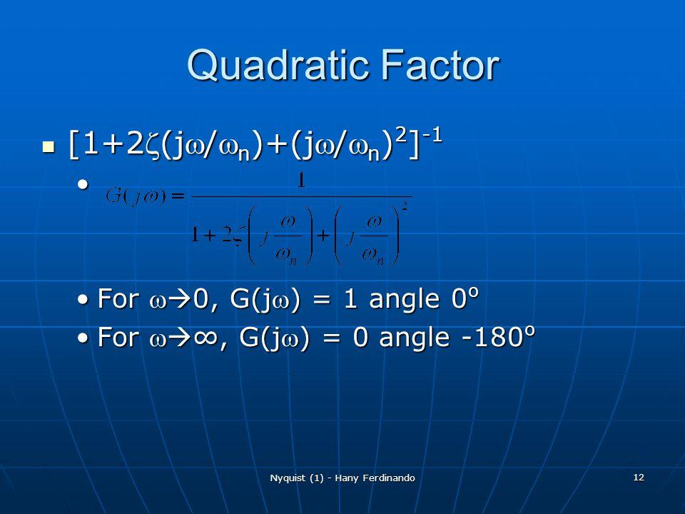 Nyquist (1) - Hany Ferdinando 12 Quadratic Factor [1+2(j/ n )+(j/ n ) 2 ] -1 [1+2(j/ n )+(j/ n ) 2 ] -1 For 0, G(j) = 1 angle 0 oFor 0, G(j) = 1 angle