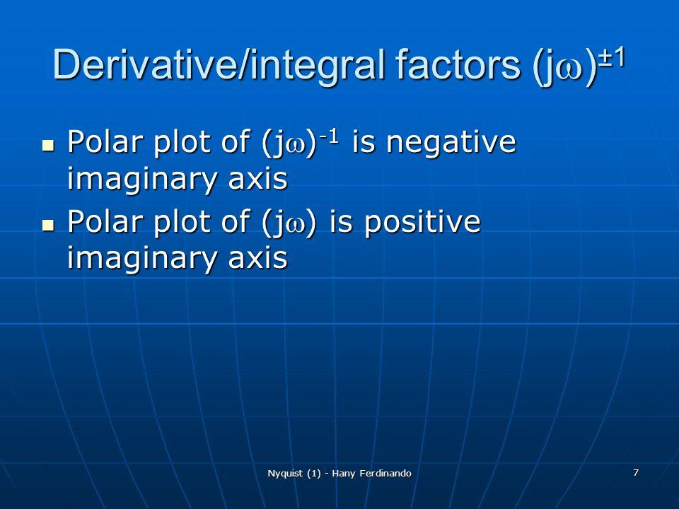 Nyquist (1) - Hany Ferdinando 7 Derivative/integral factors (j ) ±1 Polar plot of (j) -1 is negative imaginary axis Polar plot of (j) -1 is negative i