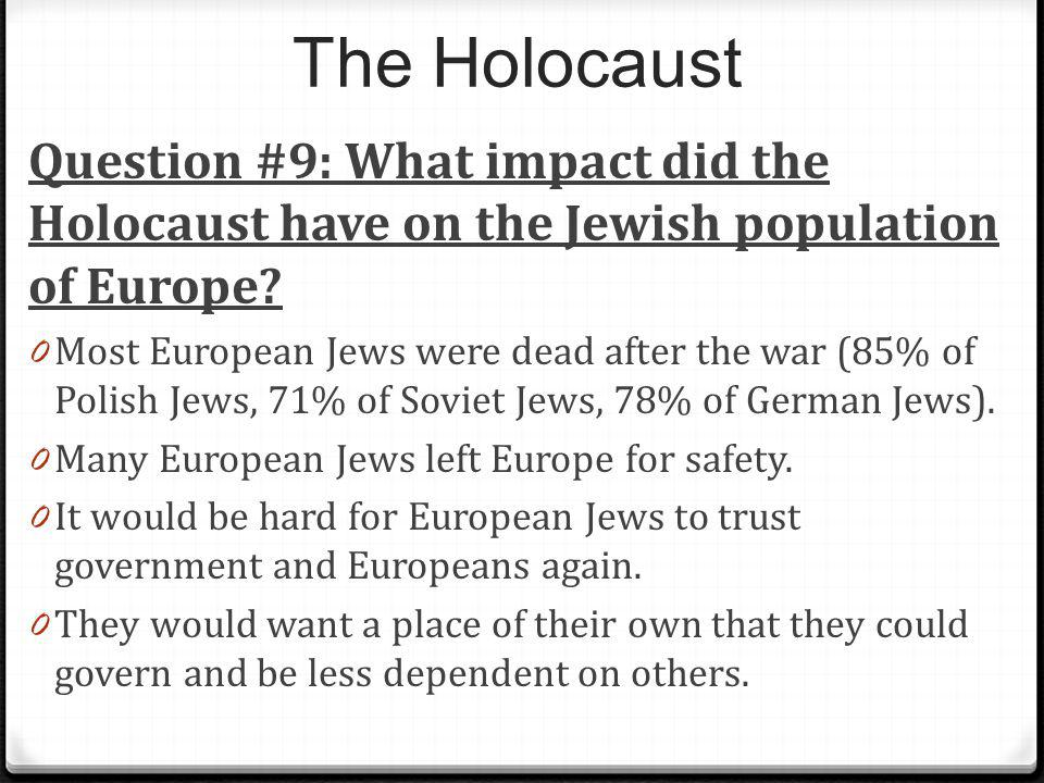 The Holocaust Question #9: What impact did the Holocaust have on the Jewish population of Europe? 0 Most European Jews were dead after the war (85% of
