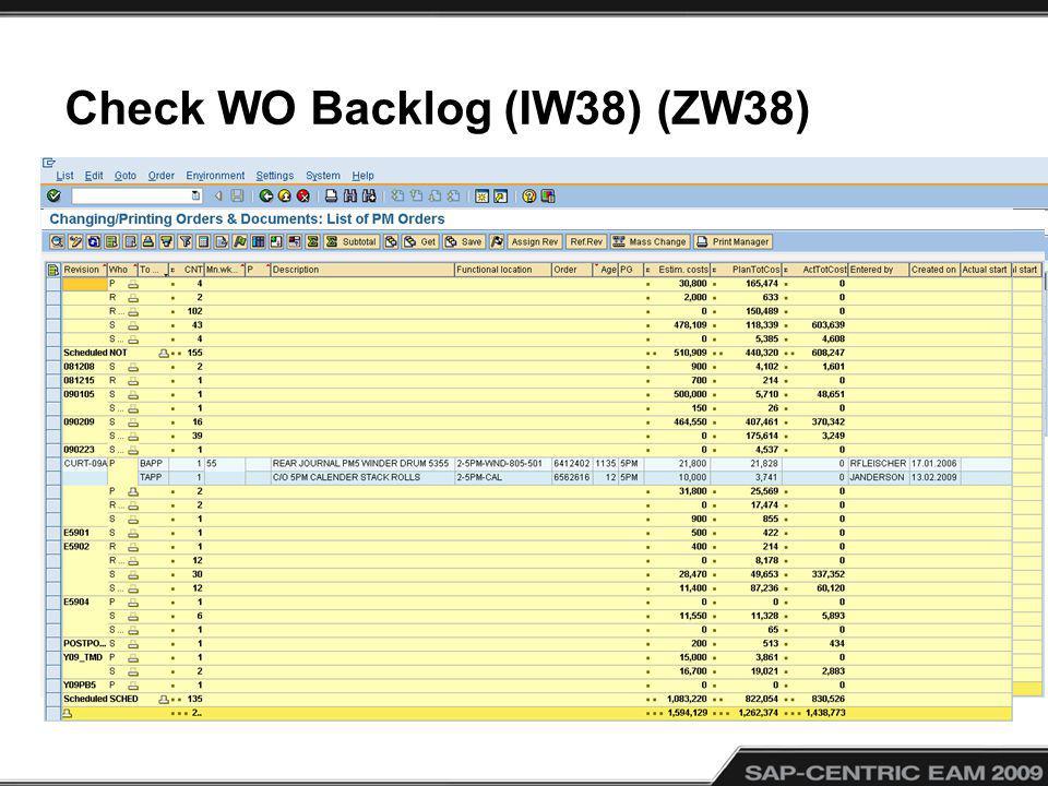 Check WO Backlog (IW38) (ZW38)