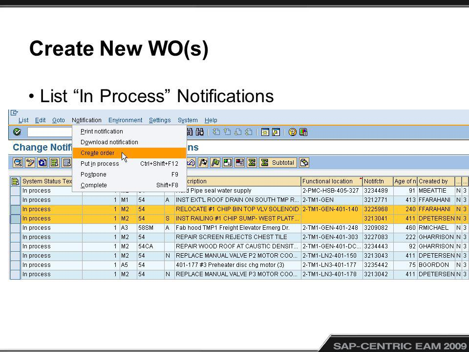 Create New WO(s) List In Process Notifications