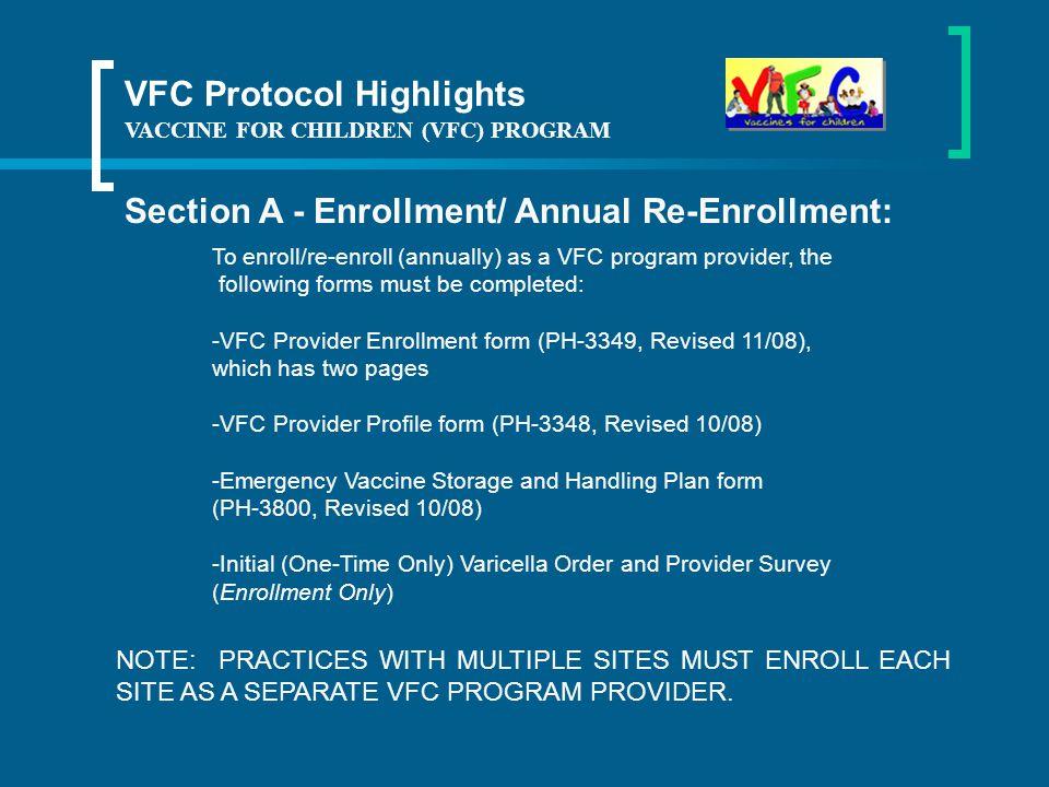 VACCINE FOR CHILDREN (VFC) PROGRAM VFC Protocol Tennessee